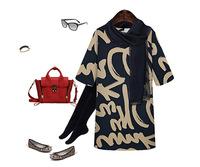 New 2014 Spring Brand Letter Printing Dress Temperament Slim Simple Dress Women Plus size XXXL