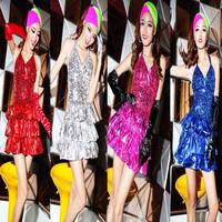 2014 Special Offer New Noboby Costume Ds Lead Dancer Clothing Halter-neck Paillette Fashion Female Singer Costumes Formal Dress