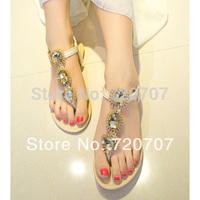 2014 summer new sandals bohemia rhinestone flat gem flip-flop elegant flat female sexy shoes apricot color crystal slides
