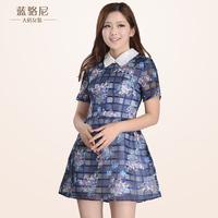 2014 plus size Plus size clothing 2014 women summer dresses good quality one-piece dress short-sleeve