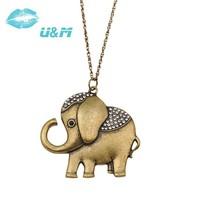 Vintage necklace elephant pendant necklace wholesale 2014 new free shipping no minimum 140418