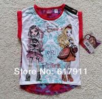 Retails new 2014 big girls t-shirts children t shirts brand short sleeve chiffon girl t shirt  Ever After monster high clothing