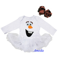 Baby Olaf Snowman White Long Sleeves Bodysuit Pettiskirt  Tutu Brown Bow Headband NB-18M