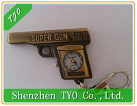 Cute Super Gun Pocket Watch Vintage Bronze Gun Design Fob Watch with Chain