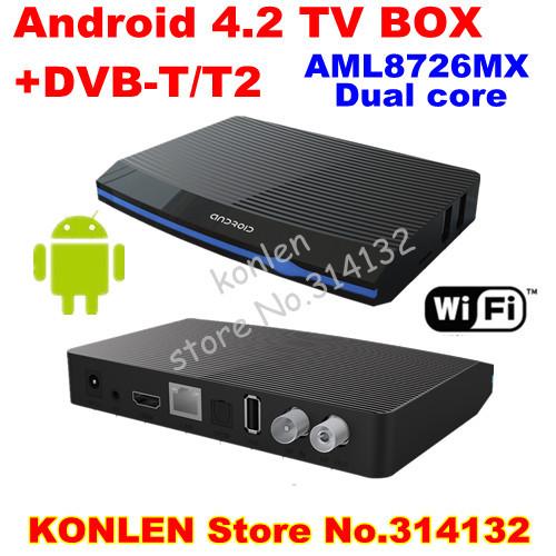 ip tv netwok dvb-t2 android tv box / set top box media player + dvb t2 receiver Aml8726MX Dual core &remote controller(Hong Kong)