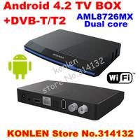 ip tv netwok dvb-t2 android tv box / set top box media player + dvb t2 receiver  Aml8726MX Dual core &remote controller
