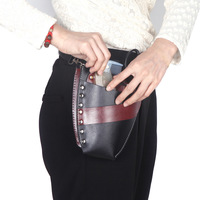 PU Leather Rivet Clips Holder Case Barber Hairdressing Holster Pouch Salon Scissor Bag with Waist Shoulder Belt