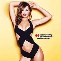High quality 2014 new french designer women sexy white black HL bandage one piece swimsuit bathing suit beach swimwear
