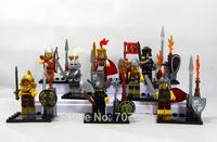 New Arrival Boxed 8PCS/Set  Castle Soldier  Action Figure Cute Mini  5CM Sparta Man  PVC Building Blocks Toys Free Shipping