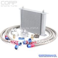 AN-10 30 row Universal engine transmission oil  cooler filter kit Sliver