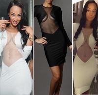 Celebrity Bodycon Bandage Dresses Spring New 2014 Vintage Geometric Lace Womens Party Pencil Women Dress