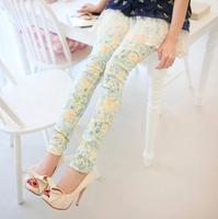 2014 The Korean women Denim Leggings Begie Roses wholesale Slim was thin fashion leggings Free shipping