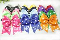 3 inches polka dot ribbon cheering bow with elastic.selling hot, free shipping fee !!!