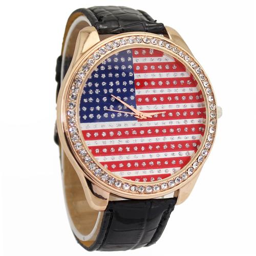 Hot Sale, Fashion Black Band USA American Flag Womens Ladies Girls Crystal Analog Quartz Gift Wrist Watches. Free Shipping(China (Mainland))