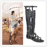 Free shipping new 2014 women sandal fashion Design brand women flats shoes high boots flats summer shoes
