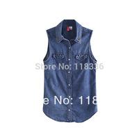 sally she DOO-23 spring summer women's sleeveless denim shirt collar shirt wholesale rivets decorative brand style