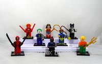 New Arrival 8PCS/Set  Wonder Woman/Aquaman/Deadpool/The Joker  Action Figure Cute 5CM PVC Building Blocks Toys Free Shipping