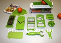 New 12pcs/sets Fruit Nicer Dicer Slicer Cutter Plus Container Multi Vegetable Chopper Peelers Food Slicer Cutter # J0020