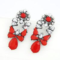 Fashion Big Resin Crystal Drop Earrings for Women Jewelry Black Plated Pendientes Brincos Grandes Maxi bijoux 2014 De Festa