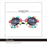 coating casual  Elegant Retro Styles Flower Sunglass Fashion Children kids girls floral sunglasses women brand designer coating