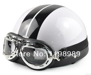 Fashion New summer helmet Vespa Open Face Half Motorcycle Goggles Motorcycle Helmet Electric cars Helmet brilliant black-#dsga02(China (Mainland))