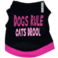 Pet Clothes 100% Cotton Black Pink Letter Prints Dog Vest T-shirt For Poodle Bichon Chihuahua
