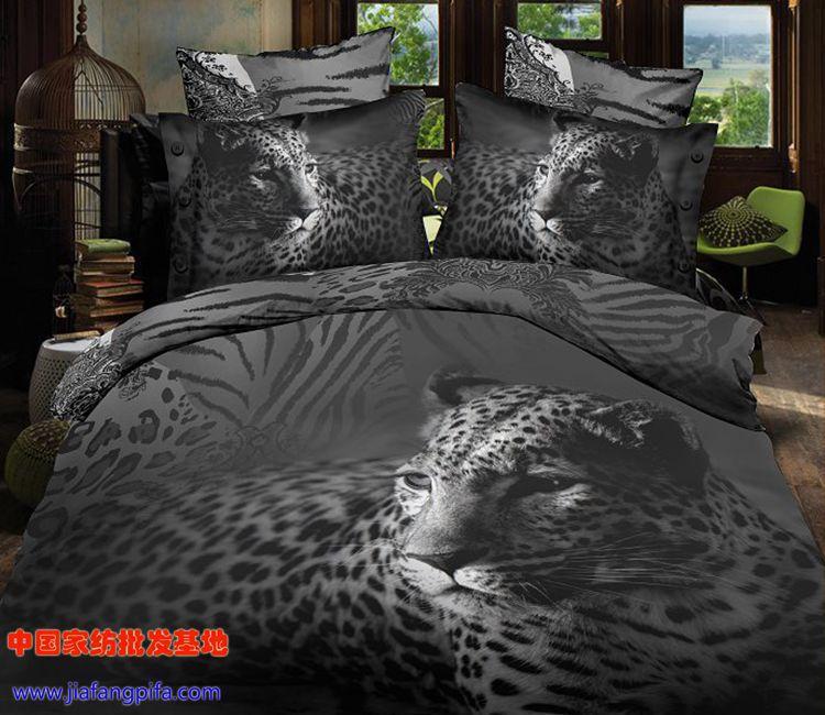 3D Black and white animal tiger leopard print bedding comforter sets queen size duvet cover ...