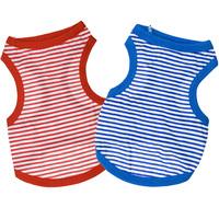 Pet Clothes 100% Cotton Blue/Red Stripes Dog Vest T-shirt For Poodle Bichon