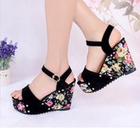 Fashion Women's Flower Bohemian Wedges Shoes High Heels Platform Open Toe Ankle Straps Sandals KZ041