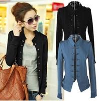 women autumn plus size XL-3XL clothing stand collar epaulette double breasted short jacket cardigan basic vintage coat