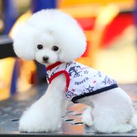 Pet Clothes Summer Anchor Print Dog Vest T-shirt For Poodle Bichon Chihuahua