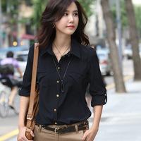 2014 Korean Elegant Office Ladies Blouse Long Sleeve Turn-down Collar Pocket Casual Blouses & Shirts Plus Size Black Women Top