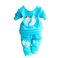 2014 new children suit children's cartoon foot printed cotton long-sleeved pants suit