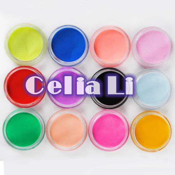 12 Color acrylic Powder liquid Glitter Nail Art Tool Kit UV Dust gem Nail Tools Set 1019(China (Mainland))