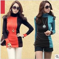 2014 new milk silk T-shirt high collar bottoming shirt women's long sleeve t shirt contrast  3 colors