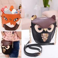2014 new fashion women leather handbag cartoon bag owl fox shoulder bags women messenger bag  B706-20#S5