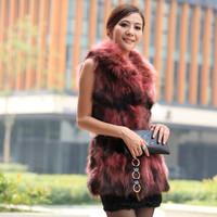 Fox fur vest 2014 women's hooded fur coat medium-long raccoon fur