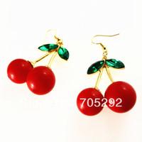 2014 New Fashion Cherry Charms Drop Earring For Women Free Shipping