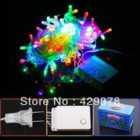 10m Multicolour 100 LED 8-Modes String 110V Light Party Chrismas Lamp Decoration US led lamps led bulb