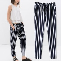 New Summer Vintage Women Casual Elastic Waist Navy&white Striped Trousers Pants S M L