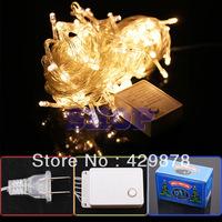 12pcs 10m Warm White 100 LED 8-Modes String 110V Light Party Chrismas Lamp Decoration Warm White US V12 led lamps led bulb 110V