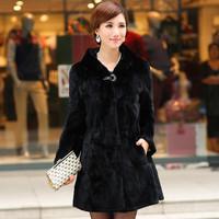 Fur 13 women's full leather fur rex rabbit hair fur coat long-sleeve with a hood long design