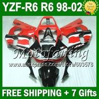 7gifts  For YAMAHA YZFR6 YZF R6 RED WHITE BLACK 98 99 00 01 02 YZF-R6 YZF600 JM9293 YZF 600 1998 1999 2000 2001 2002 Fairing
