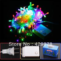 1pc 10m 100 LED White  Multicolour  Warm White 8-Modes String Light Party Chrismas Lamp Decoration US Decoration Outdoor
