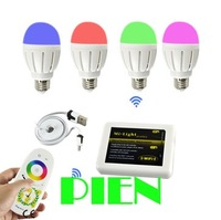 6W 9W Wifi RGB led bulb light 2.4G Group Division+touch screen remote control+Wifi rgb controller 110V-240V Free Shipping 1set