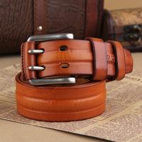 100% Genuine Leather Foumas Brand Belts For Men Double Pin Buckle Mens Wide Belt Male Cintos Man Straps Ceinture 120cm MBT0170