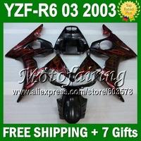 7 Free giftsFor YAMAHA 03 2003 YZF-R6 YZF600   Red flames 2003 YZF R6 JM243 YZFR6 Red black YZF-600 03 R6 R 6  Fairing
