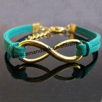 1000pcs/lot wholesale price fashion jewelry infinity metal bracelet charm leather bracelet  women 20 colors hot sale bracelet