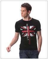2014 new clothing fashion British style torx flag pattern o-neck casual t-shirt male short-sleeve ,Men's t shirt plus size 2XL