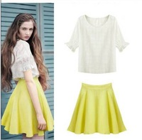 2014 Limited Promotion Freeshipping Knitted European Women's Cotton Round Neck Loose T Station Blood + Skirts / Shorts Suit